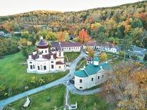 Condrita Monastery of St Nicholas from aerial view stock image