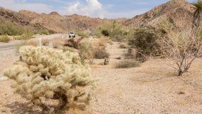 Condução com um carro através do deserto em Califórnia E.U. Fotos de Stock