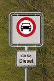 Condução da borla e do diesel proibida Foto de Stock
