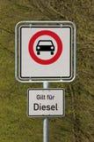 Condução da borla e do diesel proibida Fotografia de Stock