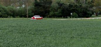 Condução de carro antigo abaixo da estrada cercada por árvores e por um campo imagens de stock royalty free
