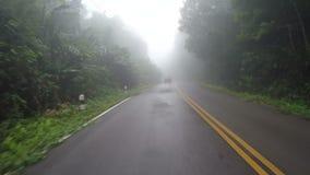 Condução de carro da estrada nevoenta da montanha do norte de Tailândia filme