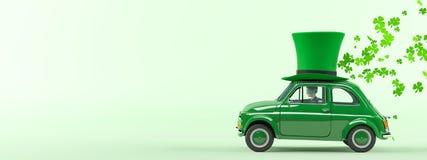 Condução de carro do dia dos patricks do St com trevos do voo rendição 3d Imagens de Stock