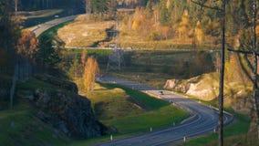 Condução de carro em uma estrada asfaltada na floresta do outono vídeos de arquivo