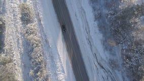 Condução de carros ao longo da estrada do inverno com opinião aérea das árvores cobertos de neve filme