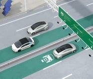 Condução de carros bondes na pista de carregamento sem fio da estrada ilustração do vetor