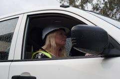 Condução do construtor da mulher Foto de Stock Royalty Free