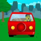 Condução do homem, guardando um volante ilustração do vetor