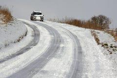 Condução do inverno - Yorkshire norte no Reino Unido Foto de Stock