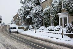 Condução do inverno - Yorkshire norte no Reino Unido Fotografia de Stock