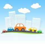 Condução na cidade dos desenhos animados Fotografia de Stock Royalty Free