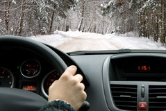 Condução no inverno Fotos de Stock
