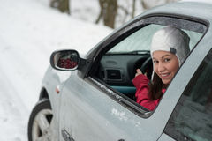 Condução no inverno Fotos de Stock Royalty Free