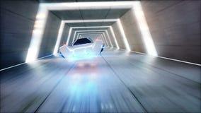 Condução rápida do carro futurista do voo no túnel do fi do sci, coridor Conceito do futuro Animação 4K realística video estoque