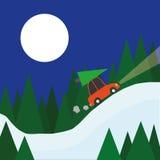 Conducción a casa para la Navidad stock de ilustración