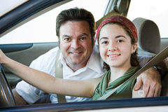 Conducción con el papá Fotografía de archivo libre de regalías