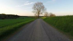 Conducción de automóviles de Hyperlapse en campo rural de la primavera almacen de video