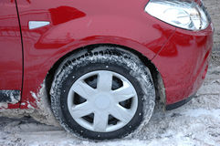 Conducción de automóviles del invierno Foto de archivo