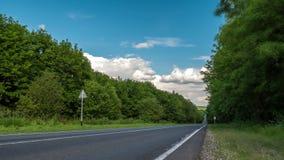 Conducción de automóviles en un lapso de tiempo del camino forestal almacen de metraje de vídeo