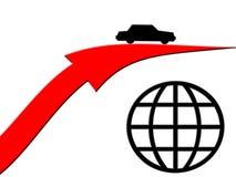 Conducción de automóviles sobre el globo Imágenes de archivo libres de regalías