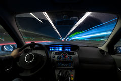 Conducción de la noche Imagen de archivo libre de regalías