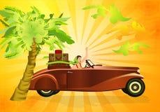 Conducción de mi coche viejo ilustración del vector
