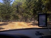 Conducción del bosque de GPS fotografía de archivo libre de regalías