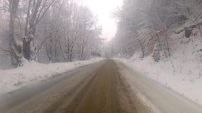 Conducción del camión en el camino nevoso almacen de video