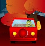 Conducción del hombre, celebrando un volante stock de ilustración
