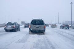 Conducción del invierno   Foto de archivo