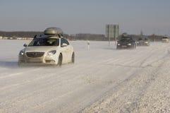 Conducción del invierno. Imagenes de archivo