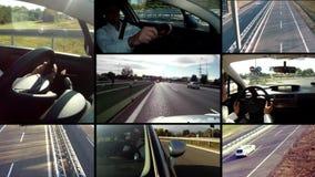 Conducción del montaje del coche almacen de video