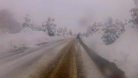 Conducción en el camino de niebla de la nieve metrajes