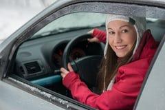 Conducción en invierno Fotografía de archivo libre de regalías