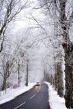 Conducción en invierno Imágenes de archivo libres de regalías