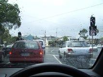 Conducción en la lluvia Imágenes de archivo libres de regalías