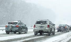 Conducción en nieve Foto de archivo