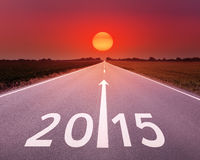 Conducción en un camino vacío adelante a 2015 Fotografía de archivo libre de regalías