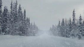 Conducción en un camino vacío y las nevadas del invierno almacen de video