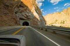 Conducción en un túnel Imágenes de archivo libres de regalías