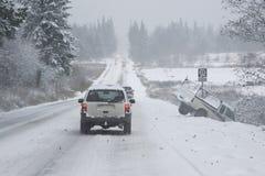 Conducción peligrosa del invierno Fotos de archivo