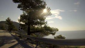 Conducción por la mañana en la isla Thassos Grecia almacen de video