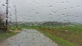 Conducci?n en la lluvia almacen de metraje de vídeo