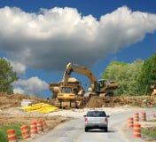 Conducción de Construction Zone Fotos de archivo