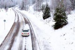 Conducción del invierno Imagenes de archivo