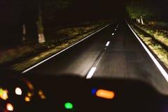 Conducción rápida de la noche Fotografía de archivo libre de regalías