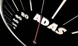 Conducteur avancé Assistance Systems Speedometer d'ADAS illustration stock