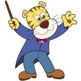Conducteur de musique de tigre de bande dessinée Image stock