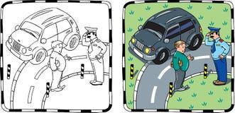 Conducteur de policier et de voiture Livre de coloration Photo libre de droits