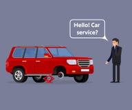 Conducteur inquiété appelle l'aide de bord de la route pour aider avec son illustration de vecteur de voiture de panne Photo stock